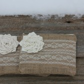 2 Burlap and Lace Bridesmaid Clutches