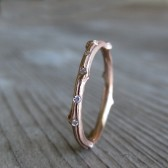 Scattered Diamond Rose Gold Twig Wedding Band