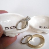 Mr and Mrs pair of ring dishes