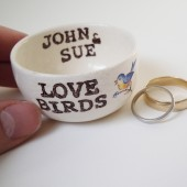 Customizable Love Birds Ring Pillow