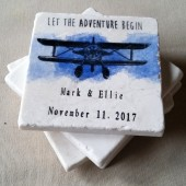 Personalized Vintage Plane Wedding Favor Coasters
