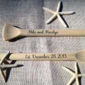 "Personalized Unfinished 35"" Paddles Nautical Wedding Guest Book Pair(2) Bride and Groom Names and Wedding Date Nautical Decor Oars Shown with Dark Navy Lettering"