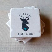 Custom Deer Wedding Favor Coasters