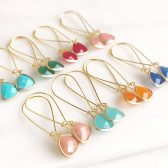 Colorful Stone Triangle Drop Earrings in Gold. Long Stone Drop Earrings