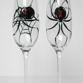 Black Widow Spider Toasting Flutes