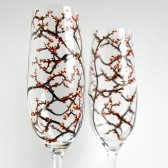 Fall Wedding Toasting Flutes