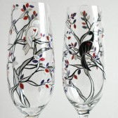 Black and White Wedding Birds Champagne Flutes