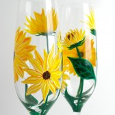 Yellow Sunflower Champagne Flutes