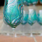 Peacock Feather Wine Glasses