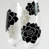 Succulent Stone Rose Champagne Flutes