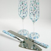 Ocean Bubbles Champagne Flutes and Cake Cutters