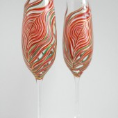 Coral Peacock Feather Champagne Flutes