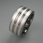 Titanium Silver Stripes Wedding Band