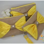 Yellow Satin Bow Wristlet