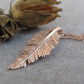 Feather pendant necklace, rose gold pendant necklace