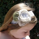 champagne flower girl headband