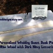 "Personalized Unfinished 41"" Paddles Nautical Wedding Guest Book Pair(2) Bride and Groom Names and Wedding Date Nautical Decor Oars Shown with Dark Navy Lettering"