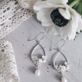 Lily of the valley earrings in sterling silver with pearl