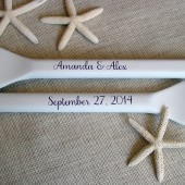 "41"" White Wedding Guest Book Paddles with Eggplant Names and Wedding Date"