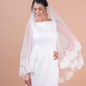 Kate III - two layers wedding bridal veil, scallop shaped wide lace