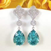 Cubic Zirconia Turquoise Long Earrings