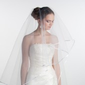 White bridal veil with satin edge, floor lenght two tier veil