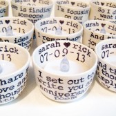10 Piece Custom Text Wedding Floating Candle Holders