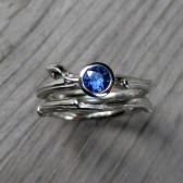 Blue Sapphire Budding Twig Engagement & Wedding Ring Set (.30ct)