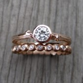 Diamond Twig Engagement & Wedding Ring Set (VS/GH, .25ct, & Seedling Band)