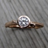 Round Diamond Twig Engagement Ring, VS/GH (.25ct)