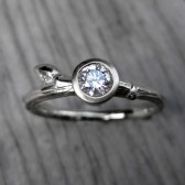 Round Diamond Budding Twig Engagement Ring; VS/GH (.25ct)