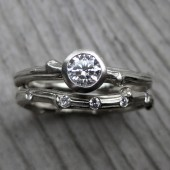 Diamond Twig Engagement & Wedding Ring Set (SI/GH, .25ct, & Diamond Band)