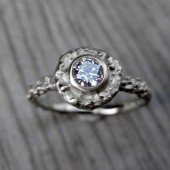 Round Diamond Twig Halo Engagement Ring, SI/GH (.25ct)