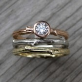 Diamond Twig Engagement & Wedding Ring Set (Three Rings, SI/GH)