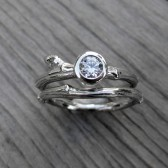 Diamond Budding Twig Engagement & Wedding Ring Set (VS/GH, .25ct)