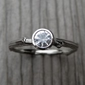 Round White Sapphire Budding Twig Engagement Ring (.30ct)