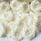 Fabric Flowers with Pearls