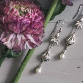 Sterling silver bridal earrings with iris flower and pearl