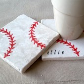 Personalized Baseball Coasters - Drink Holders