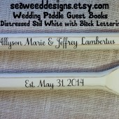 "Personalized Painted 52"" Paddles Nautical Wedding Guest Book Pair(2) Bride and Groom Names and Wedding Date Nautical Decor Oars Shown in Distressed Sail White with Black Lettering"