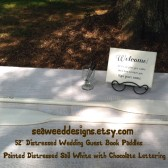 "Personalized Painted 52"" Paddles Nautical Wedding Guest Book Pair(2) Bride and Groom Names and Wedding Date Nautical Decor Oars.  Shown in DIstressed Sail White with Chocolate lettering"