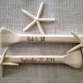 "Personalized Unfinished 52"" Paddles Nautical Wedding Guest Book Pair(2) Bride and Groom Names and Wedding Date Nautical Decor Oars Shown with Dark Navy Lettering"