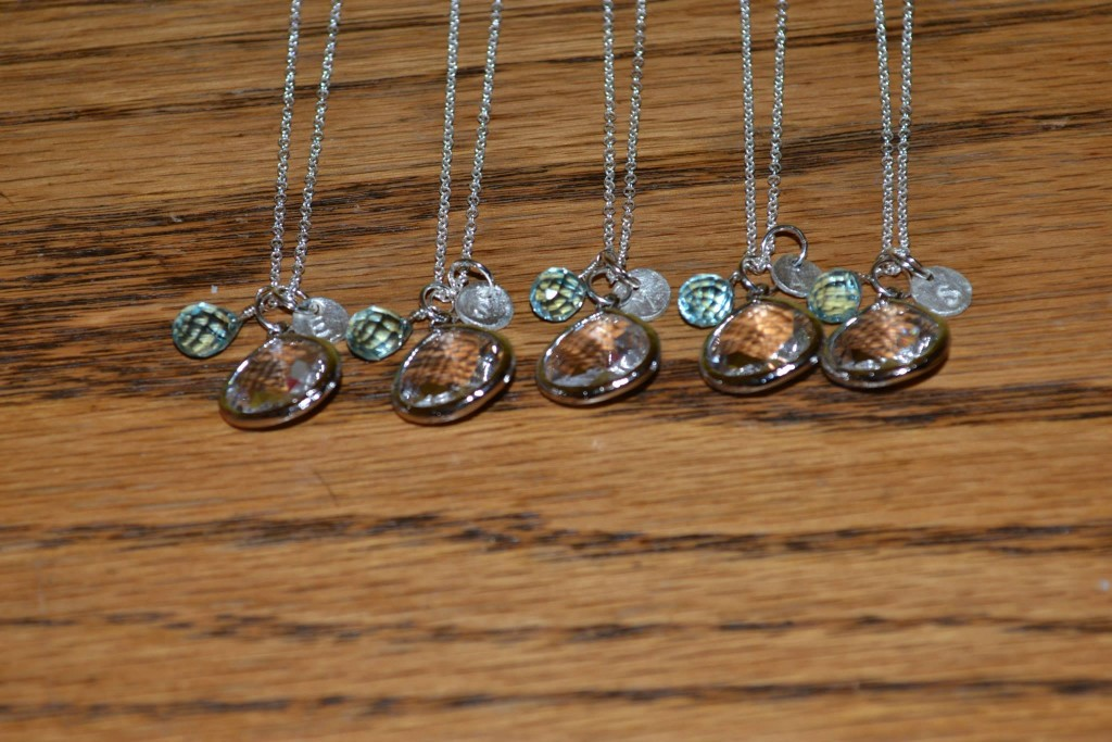 Bridesmaids' necklaces for a June 2014 wedding