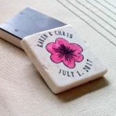 Personalized Whimsical Pink Flower Wedding Favors/Save the Date Magnets