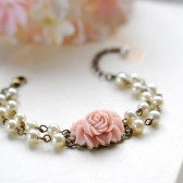 Double Strand Cream Ivory Pearls Powder Pink Rose Flower Bracelet. Two Strand Bridal Peal bracelet, Adjustable Bracelet, Bridesmaid Bracelet