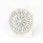 60's Rhinestone Art Deco Burst Brooch
