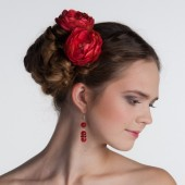 Red wedding hair accessories, red flower hair pins, bridal hair clips, bridesmaid hair accessories, red fabric flowers