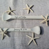 "Personalized Painted 58"" Paddles Nautical Wedding Guest Book Pair of 2 Bride and Groom Names and Wedding Date Oars"