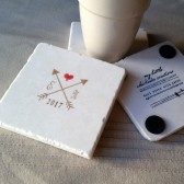 Personalized Crossed Arrows Tile Coasters