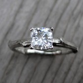 Cushion Forever Brilliant Moissanite Twig Engagement Ring (.6ct)